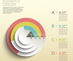 Paper cut circular analysis infographic vector