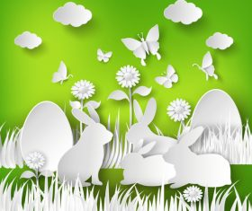 Paper cut easter vector