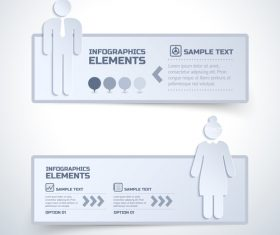 Paper cut infographic banner vector