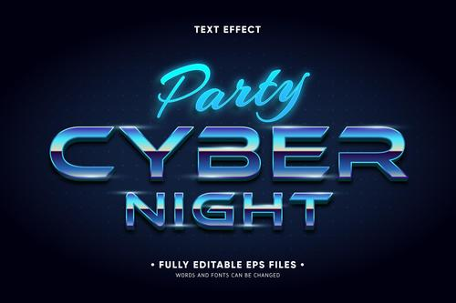 Party cyber night editable text effect vector
