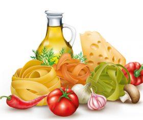 Pasta and ingredients vector