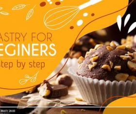 Pastry for beginners youtube template vector