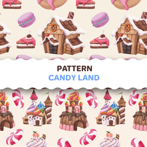 Pattern candy land vector