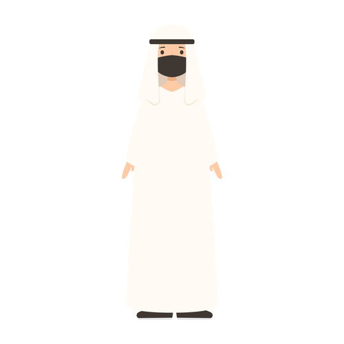People wearing mask arabian man vector