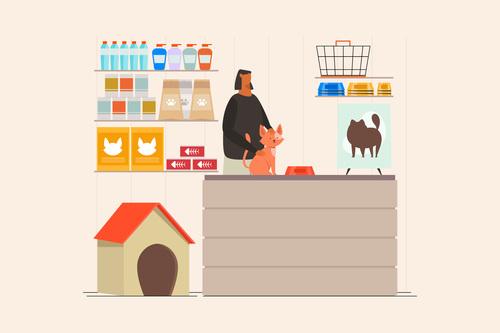 Pet shop concept illustration vector
