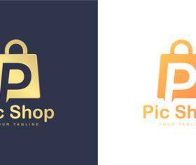 Pic shop business logo design vector