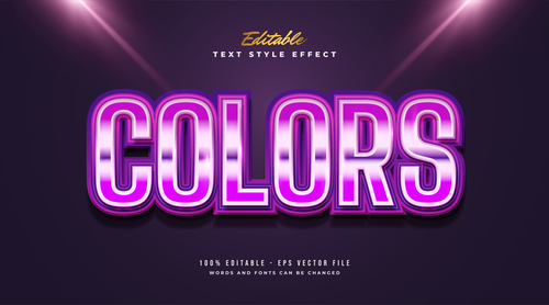 Pink colors editable font vector