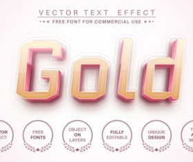 Pink gold 3d editable text style effect vector