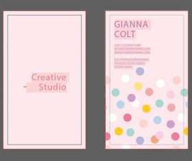 Pink polka dot business card design vector