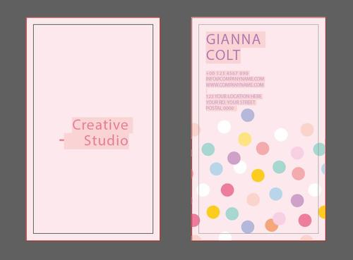 Pink polka dot business card design vector