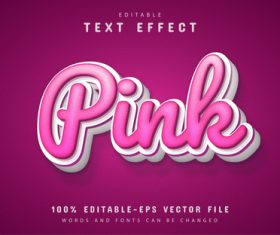 Pink text effect editable vector