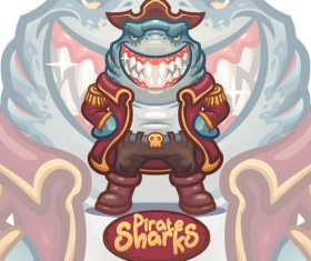 Pirate sharks illustration vector
