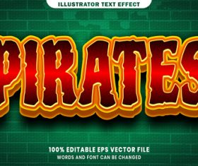 Pirates 3d editable text style effect vector