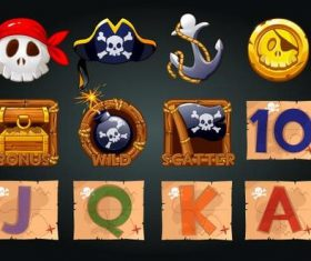Pirates icons for slot machine vector