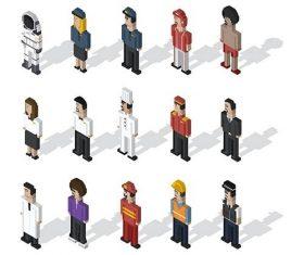 Pixel people illustration vector