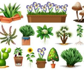 Plant flower pot background vector