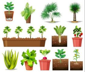 Planting crops cartoon background vector