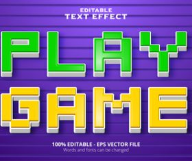 Play game editable text effect vector