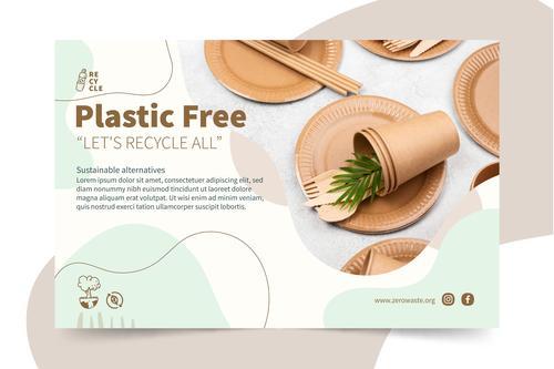 Please use plastic free tableware vector
