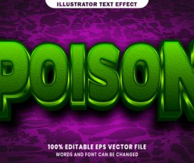 Poison 3d editable text style effect vector