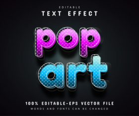 Pop art text effect editable vector