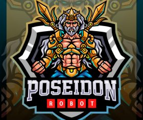 Poseidon robot mascot emblem vector