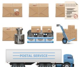 Postal icons vector