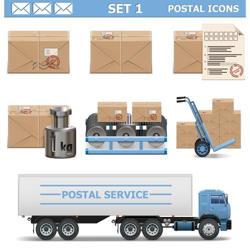 Postal icons vector