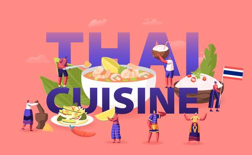 Posters thai cuisine illustration vector