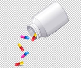 Pour out pills icon vector