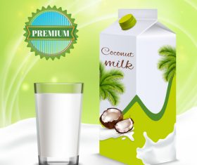Premium coconut milk advertising vector