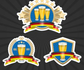 Premium wheat beer label vector