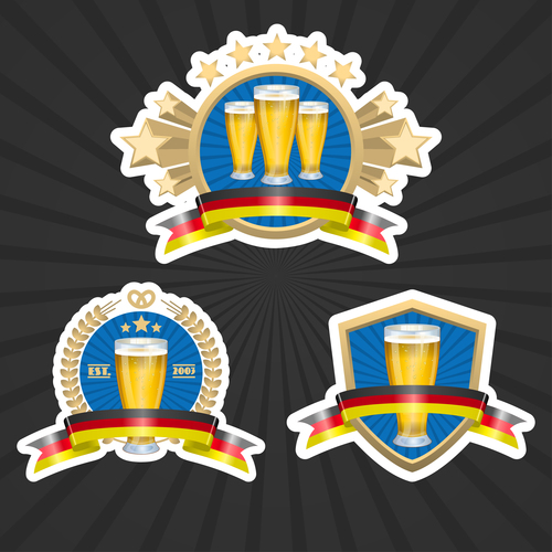 Premium wheat beer label vector