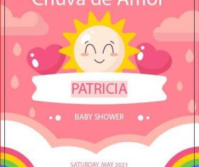 Pretty baby shower card vector