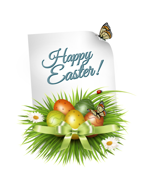 Pretty easter card vector