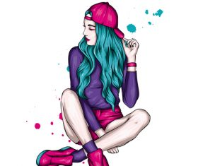 Pretty hipster girl vector