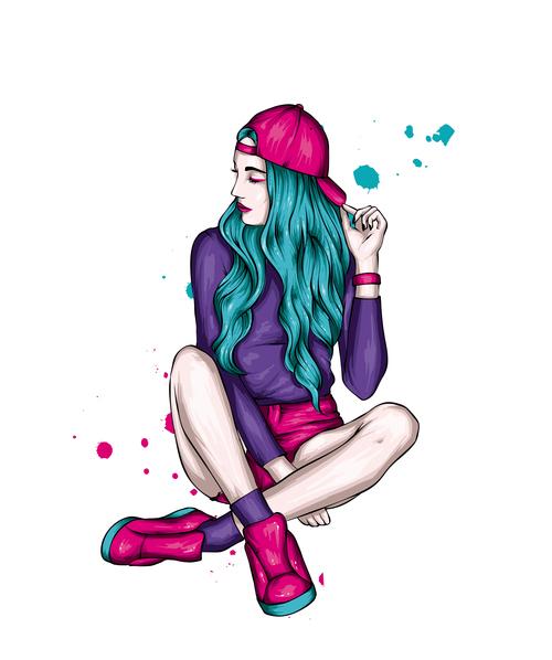 Pretty hipster girl vector