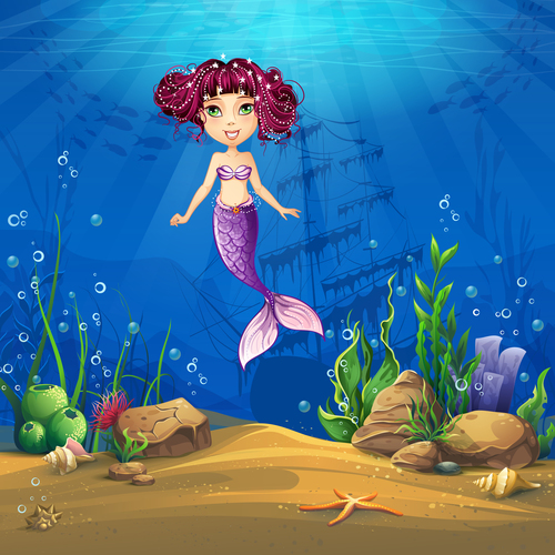 Pretty mermaid cartoon vector
