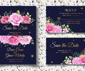 Pretty wedding invitation card vector