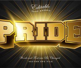 Pride 3d editable font text effect vector