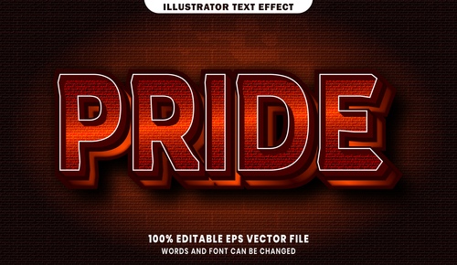 Pride 3d editable text style effect vector
