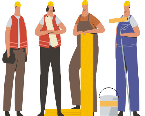Professional construction team illustration vector