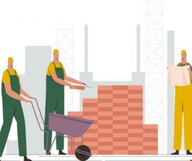 Professional construction worker illustration vector