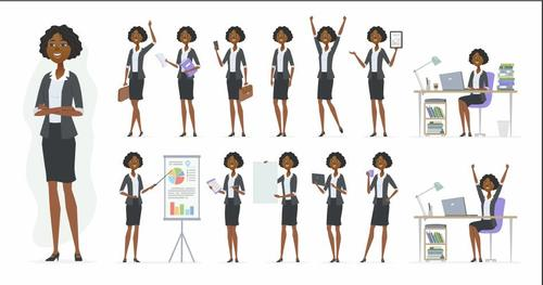 Professional women cartoon daily vector