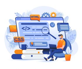 Programmer concept cartoon illustration vector