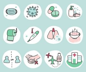Protect yourself from coronavirus pandemic icon set vector