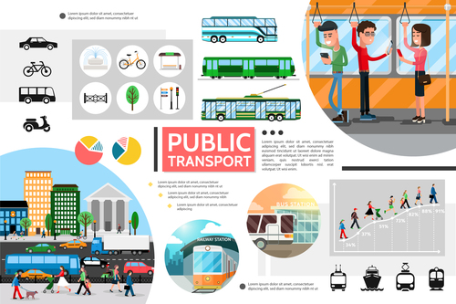 Public transport flat cartoon illustration vector
