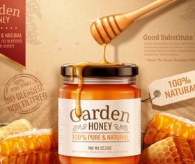Pure green garden honey promotional flyer vector