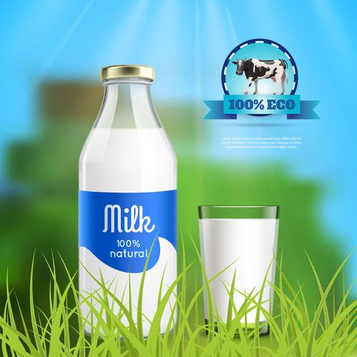 Pure milk advertising vector