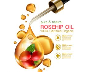 Pure natural rosehip oil vector
